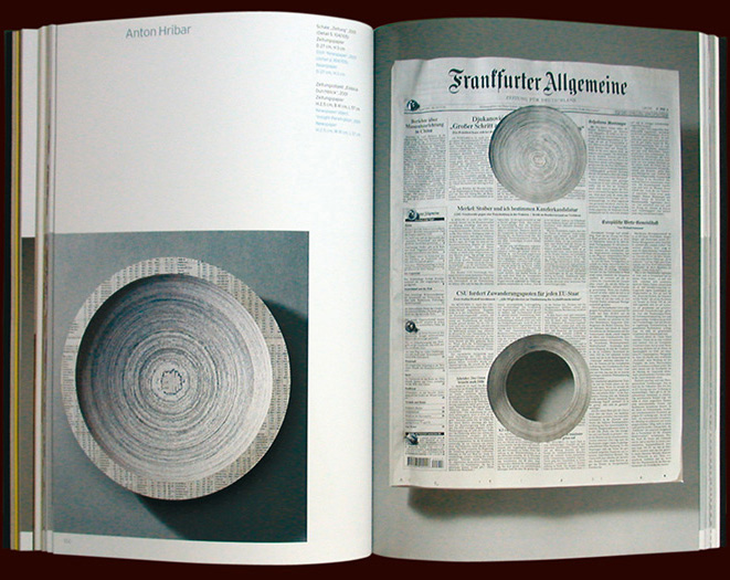 artist's work double page spread from the danner stiftung (foundation) art catalogue, arnoldsche publishers - esther mildenberger, envision+