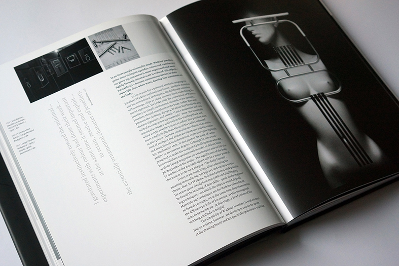 book for david watkins' oevre - artist in jewellery – detail of inside pages - esther mildenberger, envision+