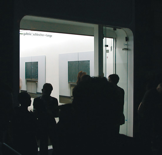 exterior of the galerie schleicher lange in paris on an opening night - brian switzer, esther mildenberger, envision+