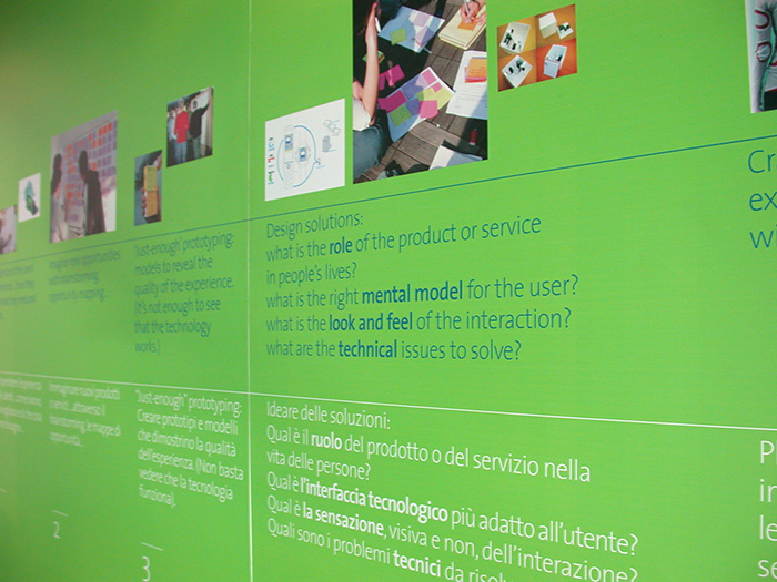 detail of the interaction design institute ivrea exhibition graphics - brian switzer, esther mildenberger, envision+