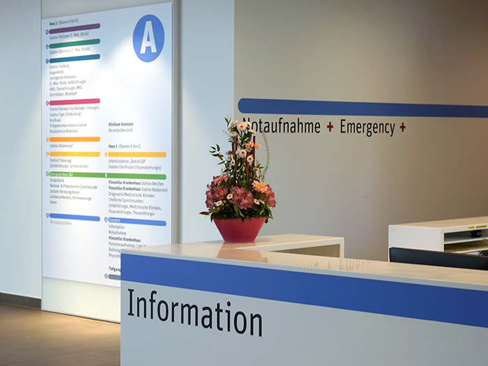 information desk and clinic overview sign for klinikum konstanz (hospital), envision+