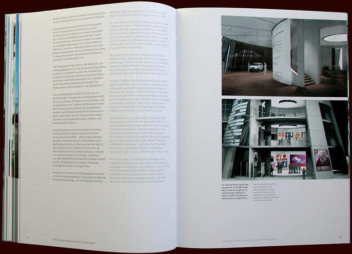 inside pages from mercedes-benz brand places book, avedition - esther mildenberger, envision+