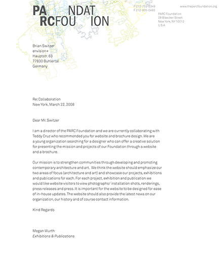 letterhead for the parc foundation - brian switzer, envision+